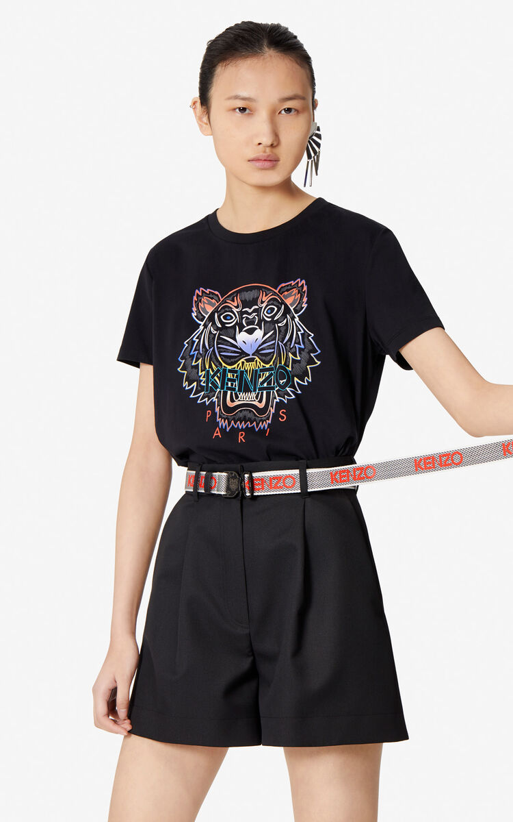 BLACK Gradient Tiger T-shirt for women KENZO