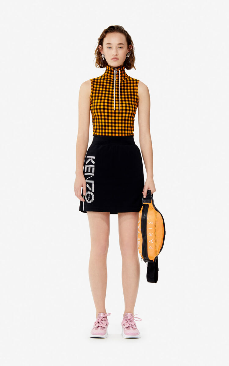 BLACK KENZO Logo skirt for women