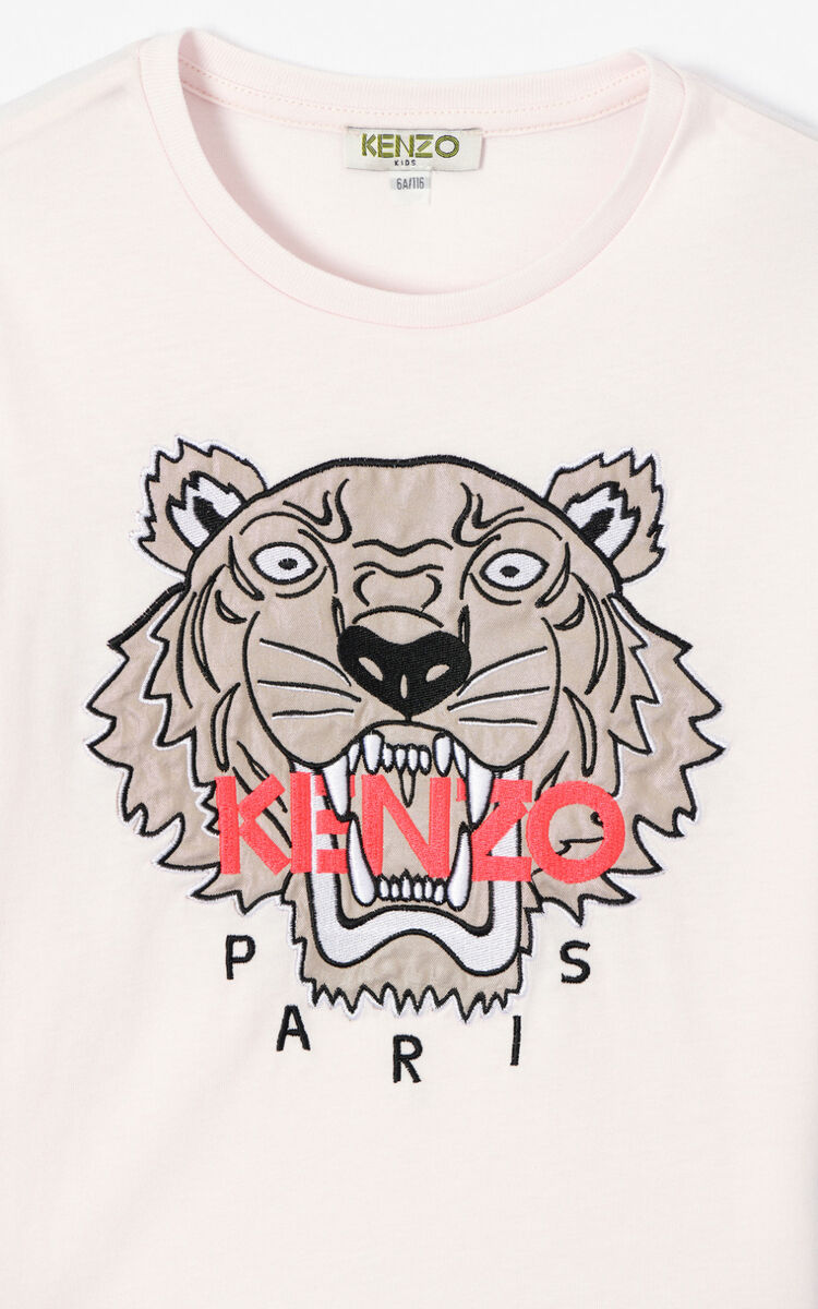 WHITE Bi-material Tiger t-shirt for women KENZO