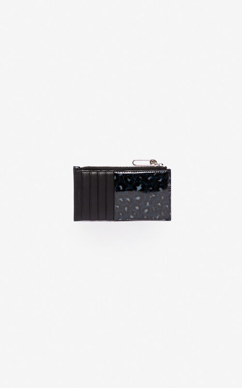 MIDNIGHT BLUE KENZO Logo Leopard card holder for men