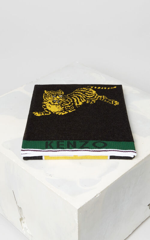 BLACK 'Jumping Tiger' sporty scarf for unisex KENZO
