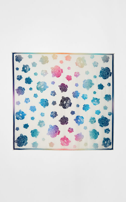 WHITE Rainbow' Silk Scarf for unisex KENZO