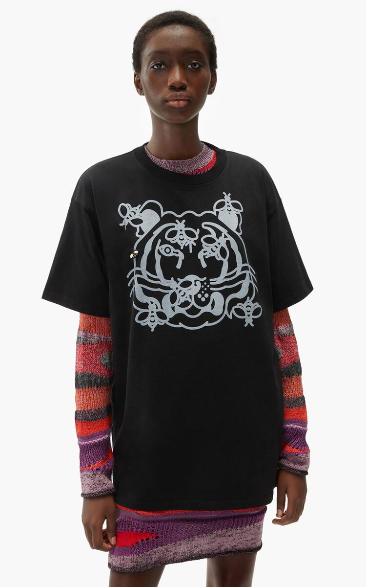 BLACK 'Bee a Tiger' oversize T-shirt     for women KENZO