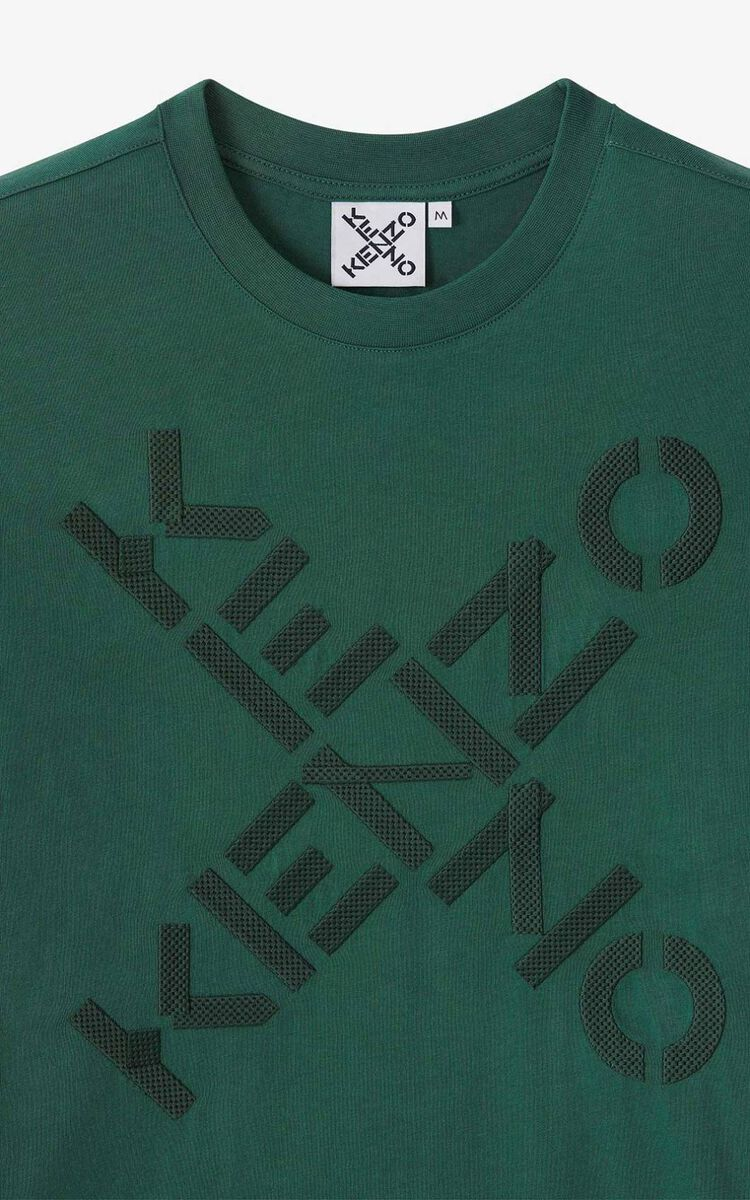 GREEN KENZO Sport 'Big X' T-shirt for men