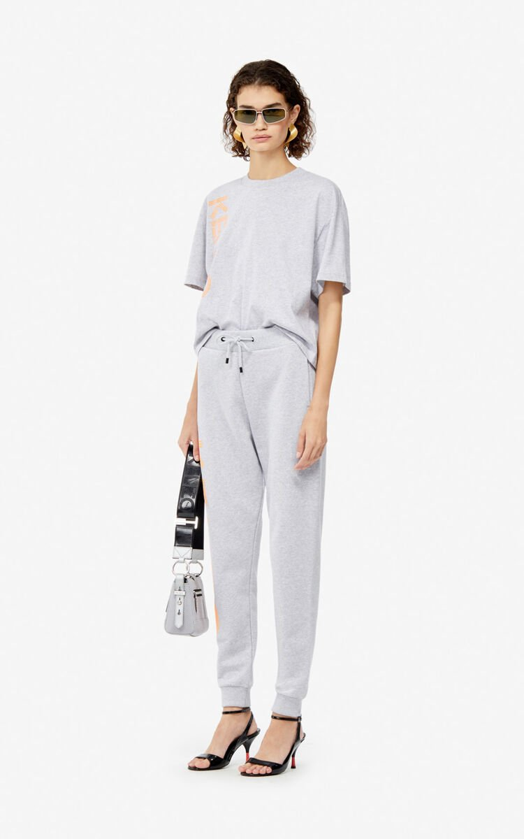 PALE GREY KENZO Logo joggers for women