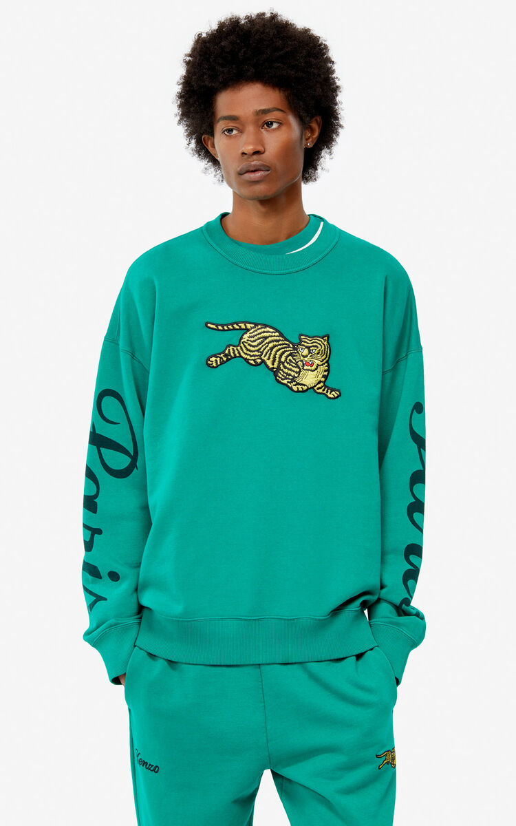 GRASS GREEN 'Jumping Tiger' sweatshirt for men KENZO