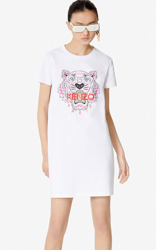 WHITE Tiger T-shirt dress for men KENZO
