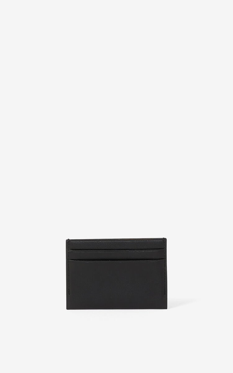 BLACK KENZO Cadet leather card holder for unisex
