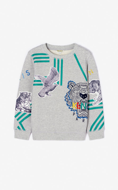 MIDDLE GREY Multi-icon 'Crazy Jungle' sweatshirt for men KENZO