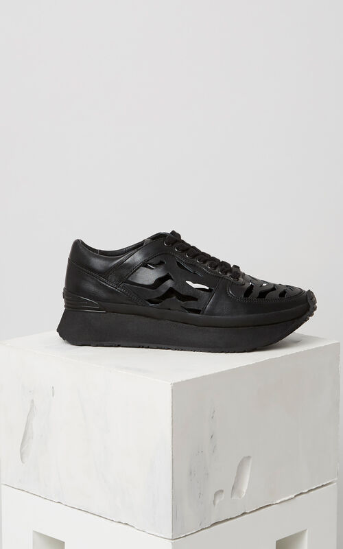 BLACK 'Tiger Stripes' Cut Out Sneakers KENZO