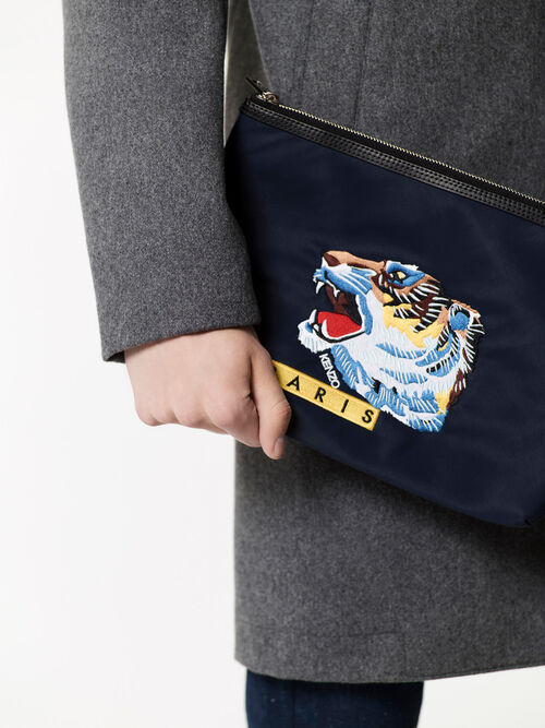 NAVY BLUE 'Tiger Face' Clutch for men KENZO