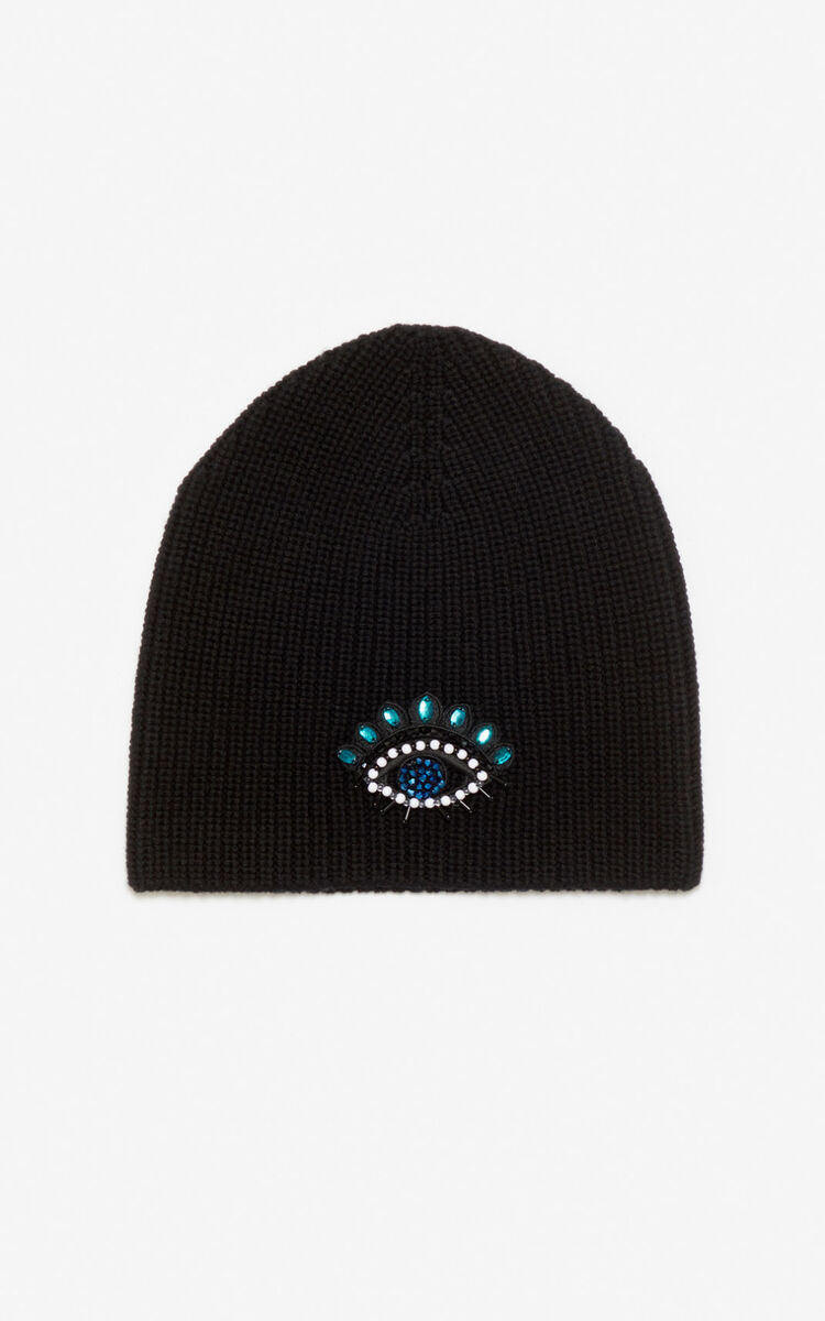 BLACK Eye knit cap for women KENZO