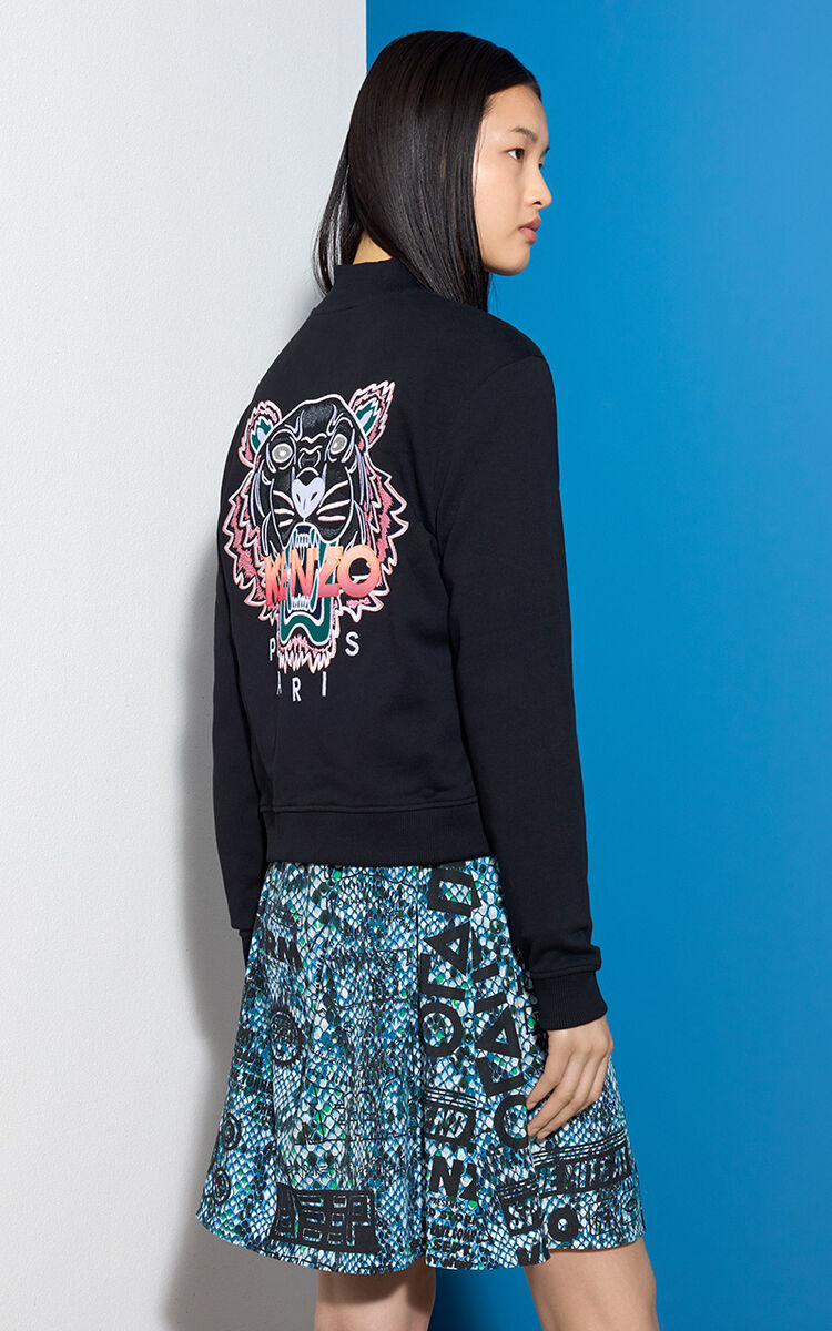 BLACK Tiger Cotton Bomber for women KENZO