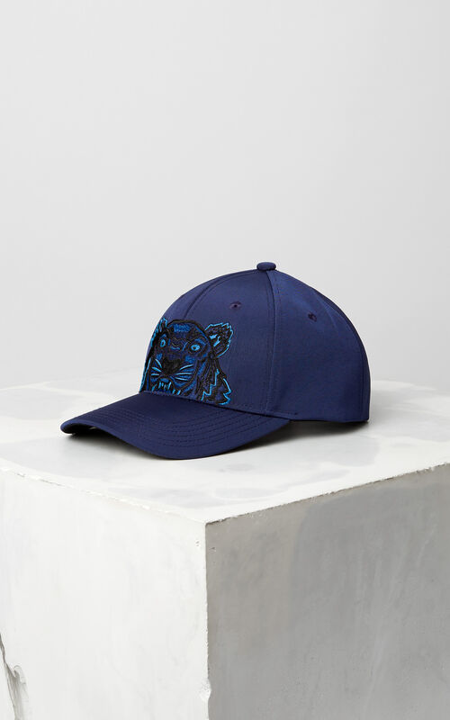 NAVY BLUE Tiger Canvas Cap for unisex KENZO