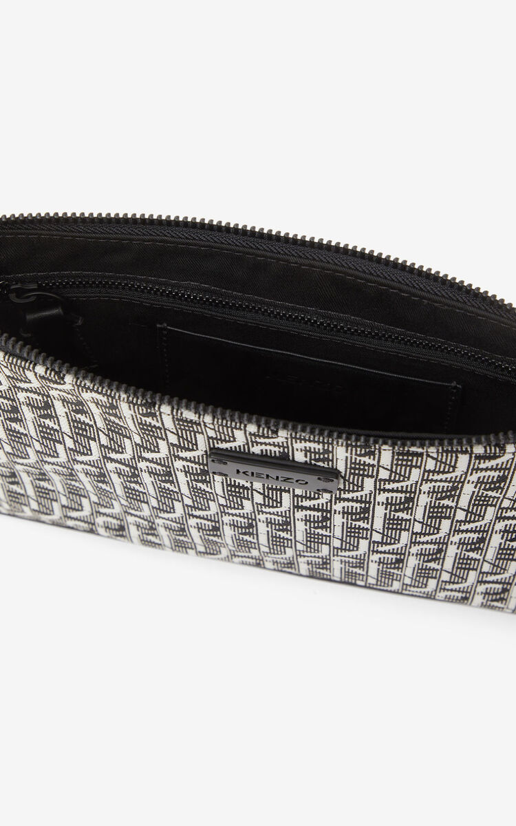 MISTY GREY Courier gusseted jacquard clutch for men KENZO