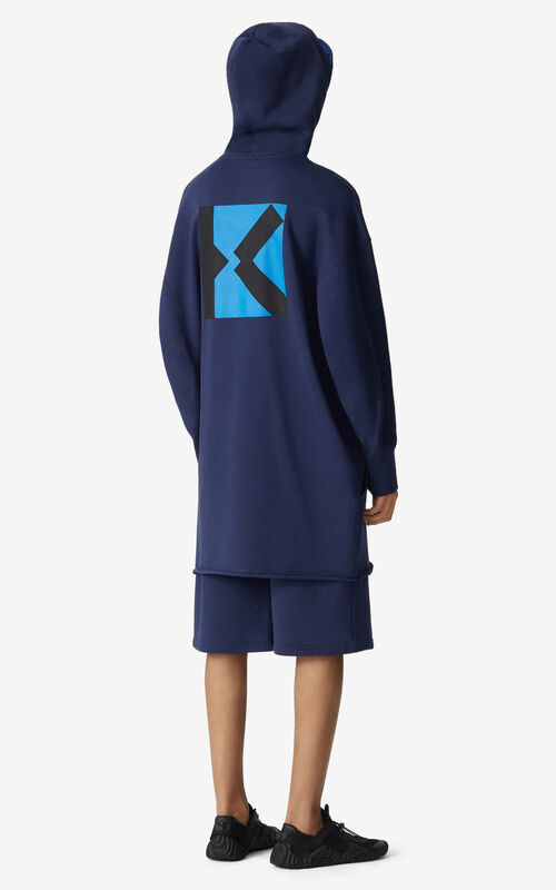 MIDNIGHT BLUE KENZO Sport 'Little X' long hooded sweatshirt    for men