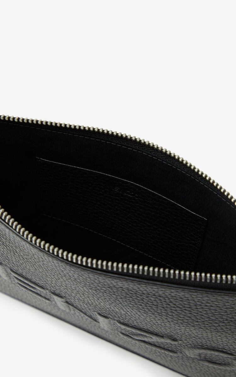 BLACK KENZO Imprint large grained leather pouch for unisex