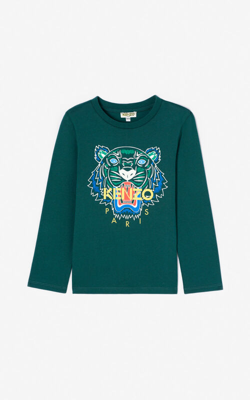 BOTTLE GREEN Tiger T-shirt for men KENZO