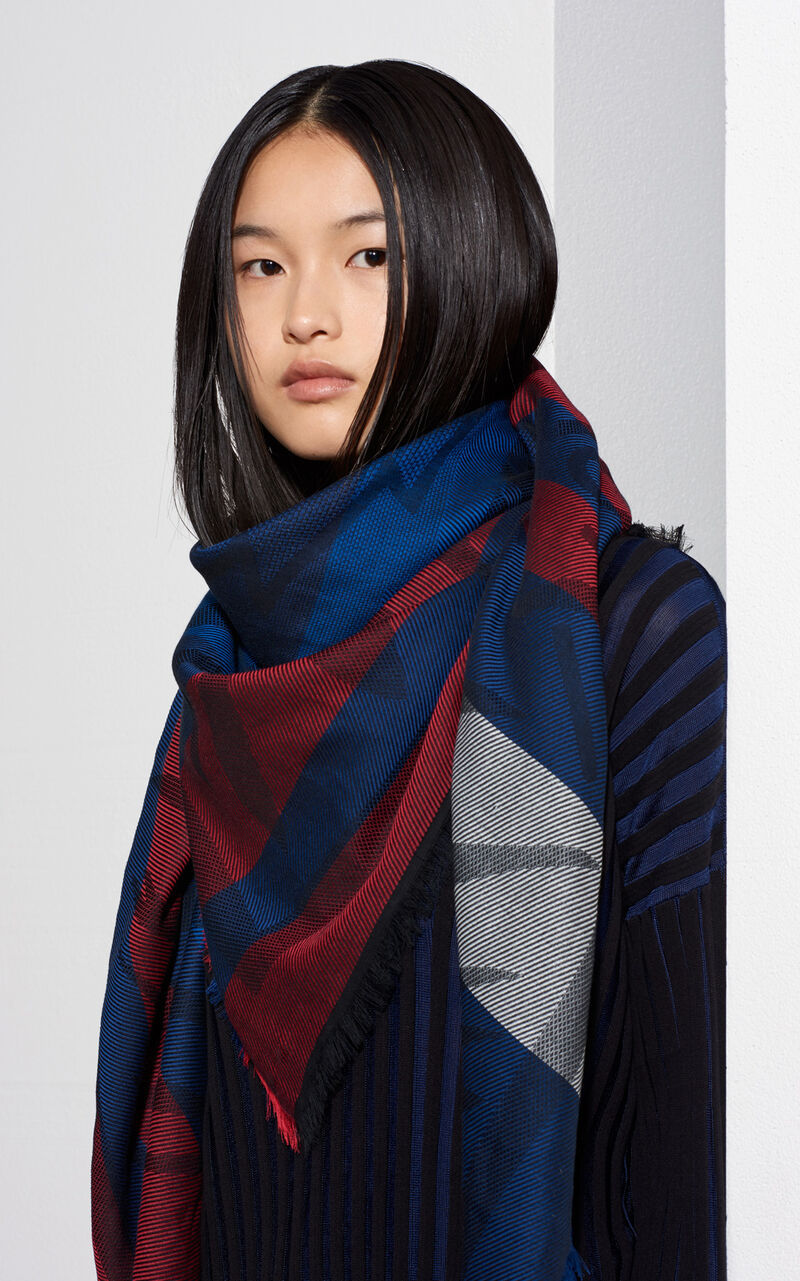 Large Tiger Square Scarf, MIDNIGHT BLUE, KENZO