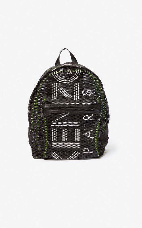 BLACK Large KENZO Logo mesh backpack for men
