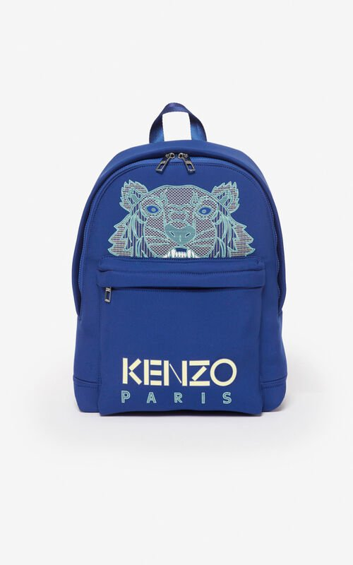 NAVY BLUE Large neoprene Tiger backpack for unisex KENZO