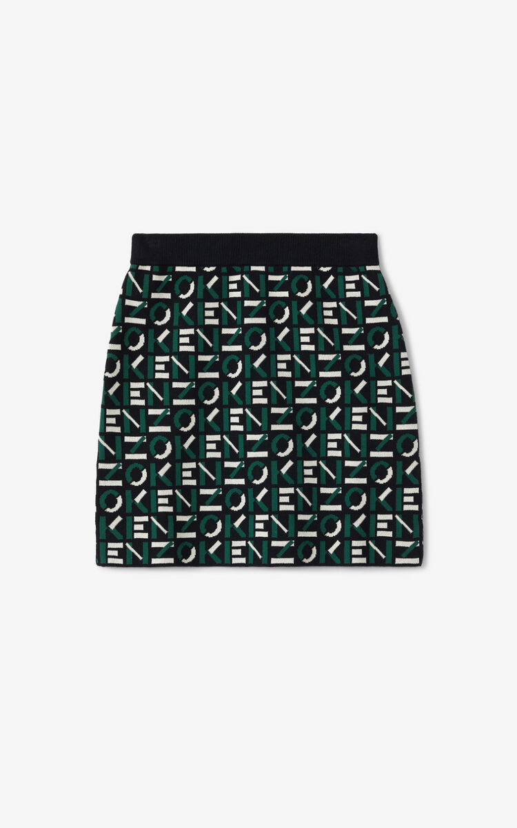 GREEN KENZO Sport monogram jacquard miniskirt for men