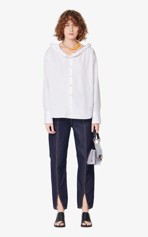 WHITE Frilled shirt for women KENZO