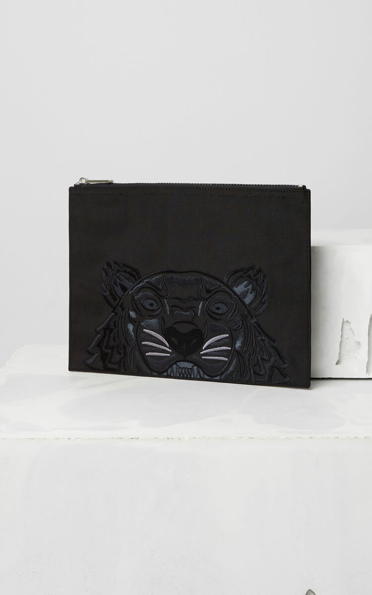 BLACK Tiger Canvas Clutch for unisex KENZO
