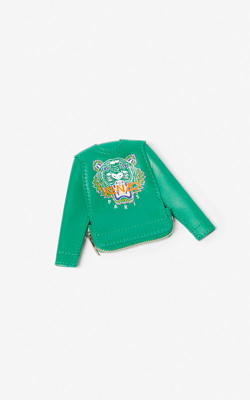 GRASS GREEN Tiger sweatshirt leather coin purse for unisex KENZO