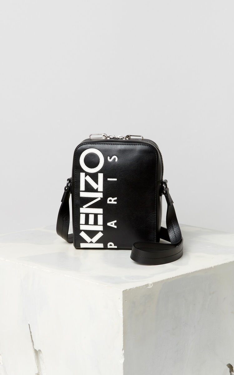 BLACK Cross-body KENZO Logo leather bag for unisex