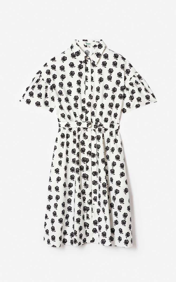 BLACK 'Roses' shirt dress for women KENZO