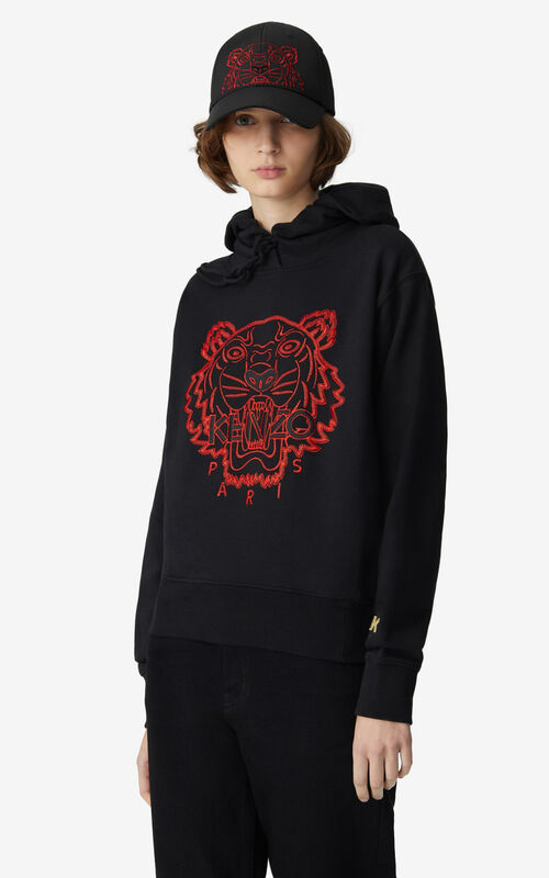 BLACK 'Chinese New Year Capsule' Tiger hooded sweatshirt for women KENZO