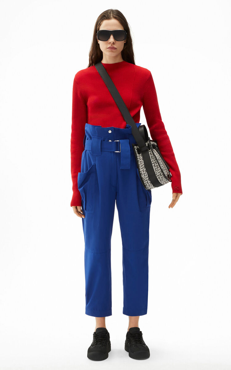 ROYAL BLUE Cropped paper bag trousers for women KENZO