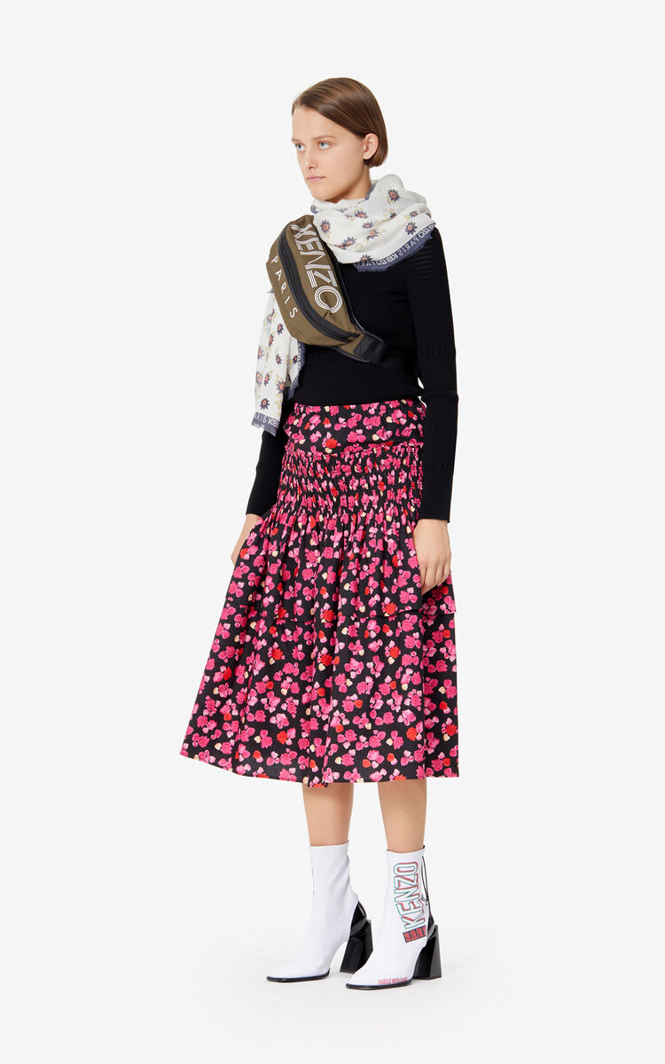 DEEP FUSCHIA Long 'Ditzy Peonie' skirt for women KENZO