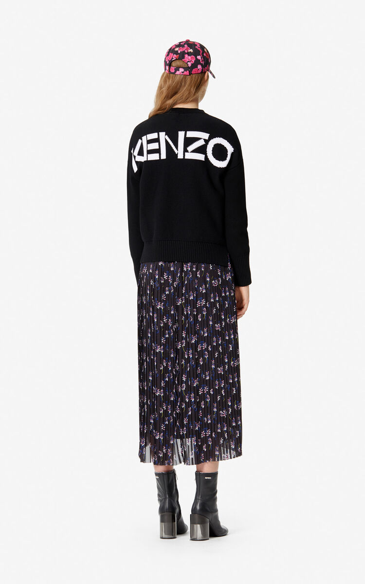 BLACK Pleated 'Passion Flower' skirt for women KENZO