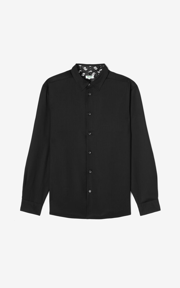 BLACK Ikat' reversible overshirt for men KENZO