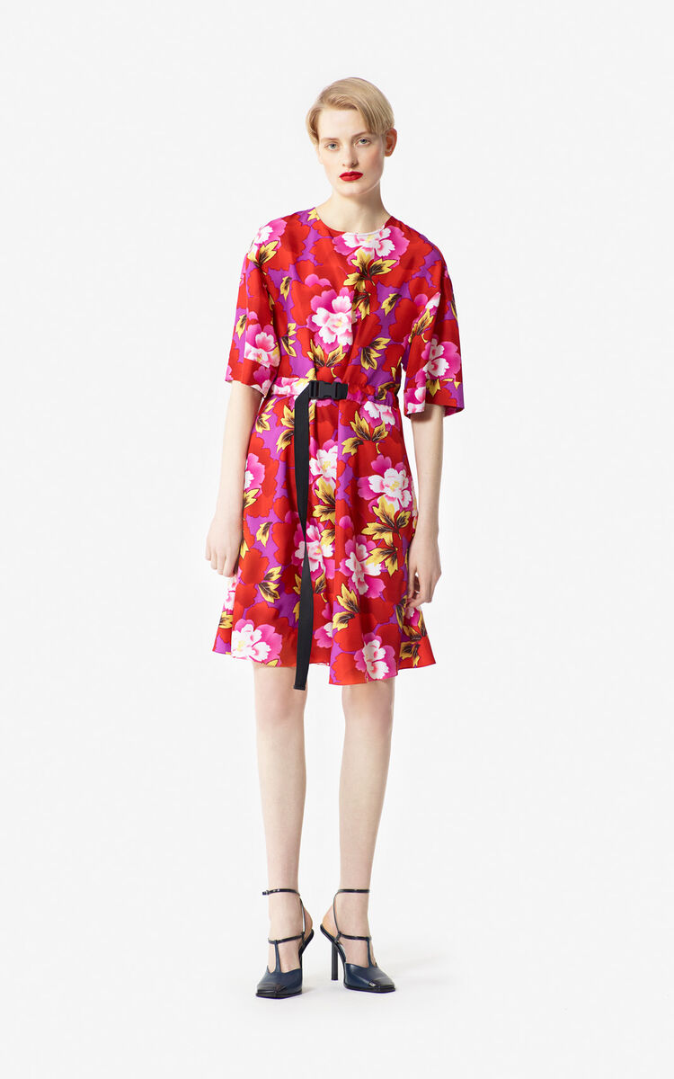 MEDIUM RED 'Indonesian Flower' dress for women KENZO