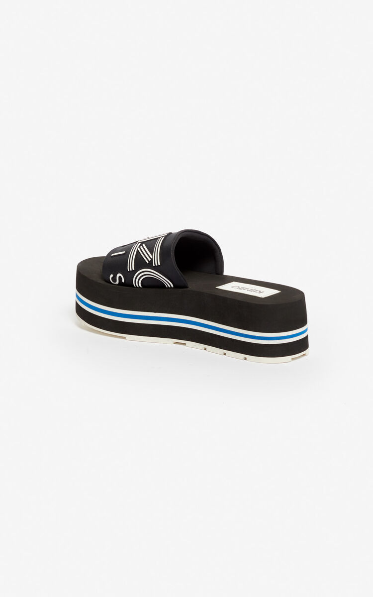 BLACK Papaya platform mules for unisex KENZO