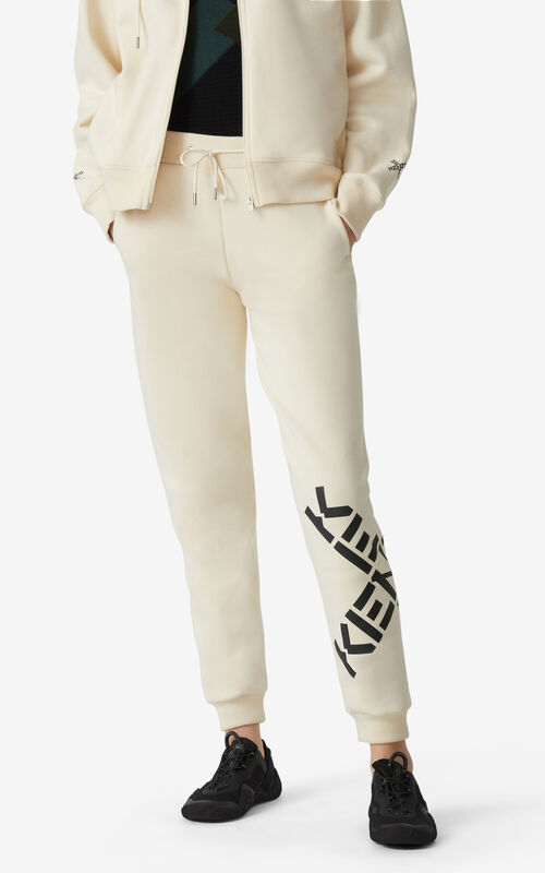 CREAM KENZO Sport 'Big X' jogging trousers for women