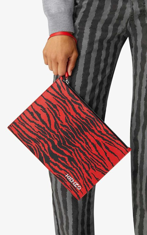 MEDIUM RED Leather clutch for men KENZO