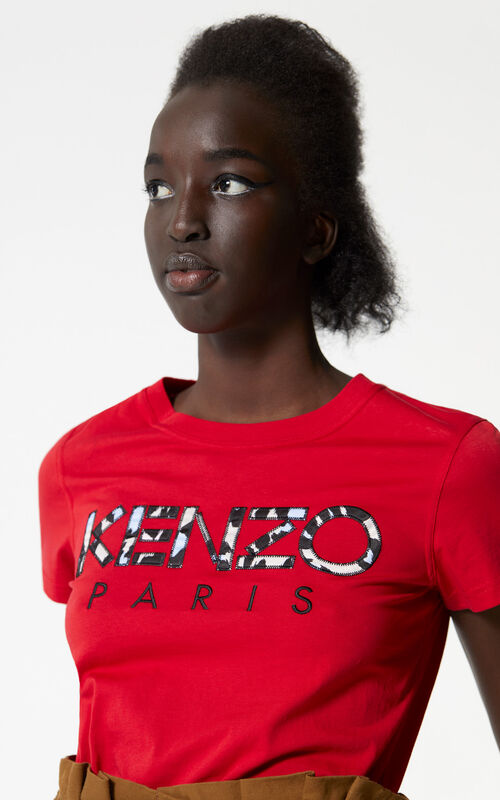 MEDIUM RED Leopard print KENZO Paris t-shirt for women