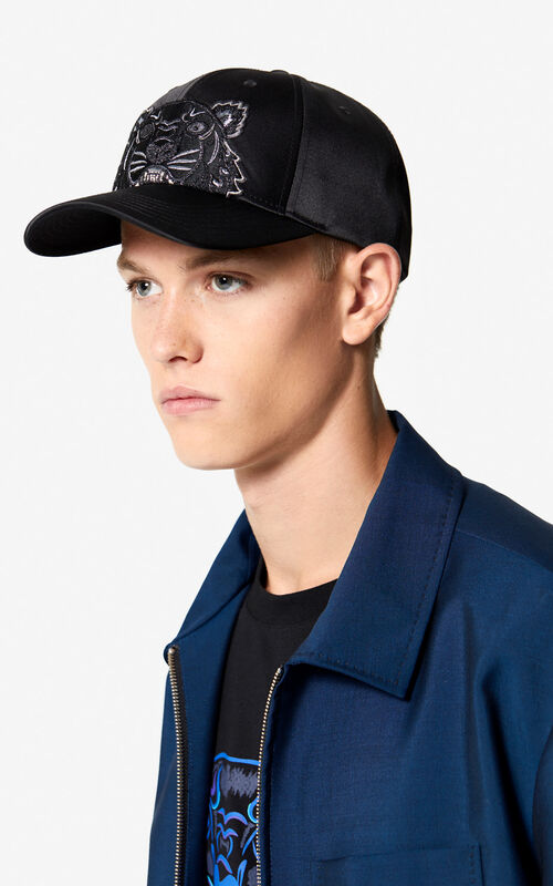 BLACK Satin Tiger cap 'Holiday Capsule' for men KENZO