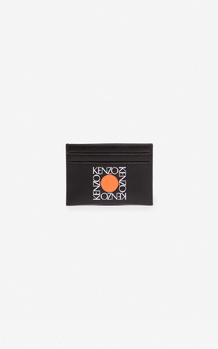 BLACK 'Square Logo' leather card holder for women KENZO