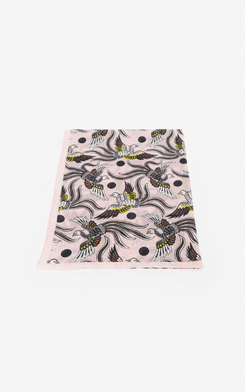 PASTEL PINK 'Flying Phoenix' scarf for unisex KENZO