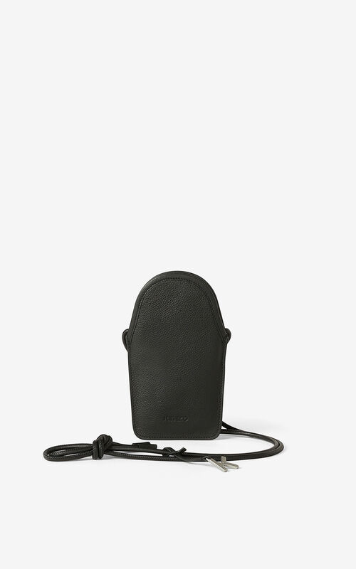 BLACK KENZO Onda leather crossbody phone holder. for men