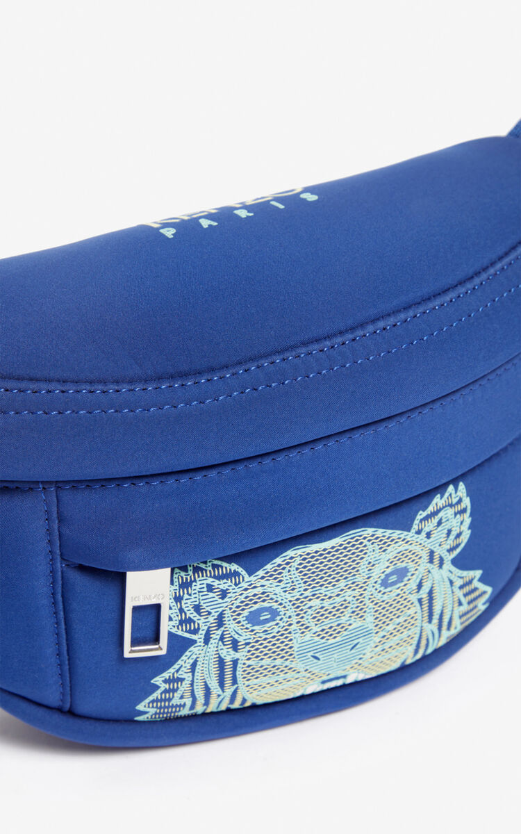 NAVY BLUE Mini 'Kampus' Tiger neoprene bumbag for women KENZO