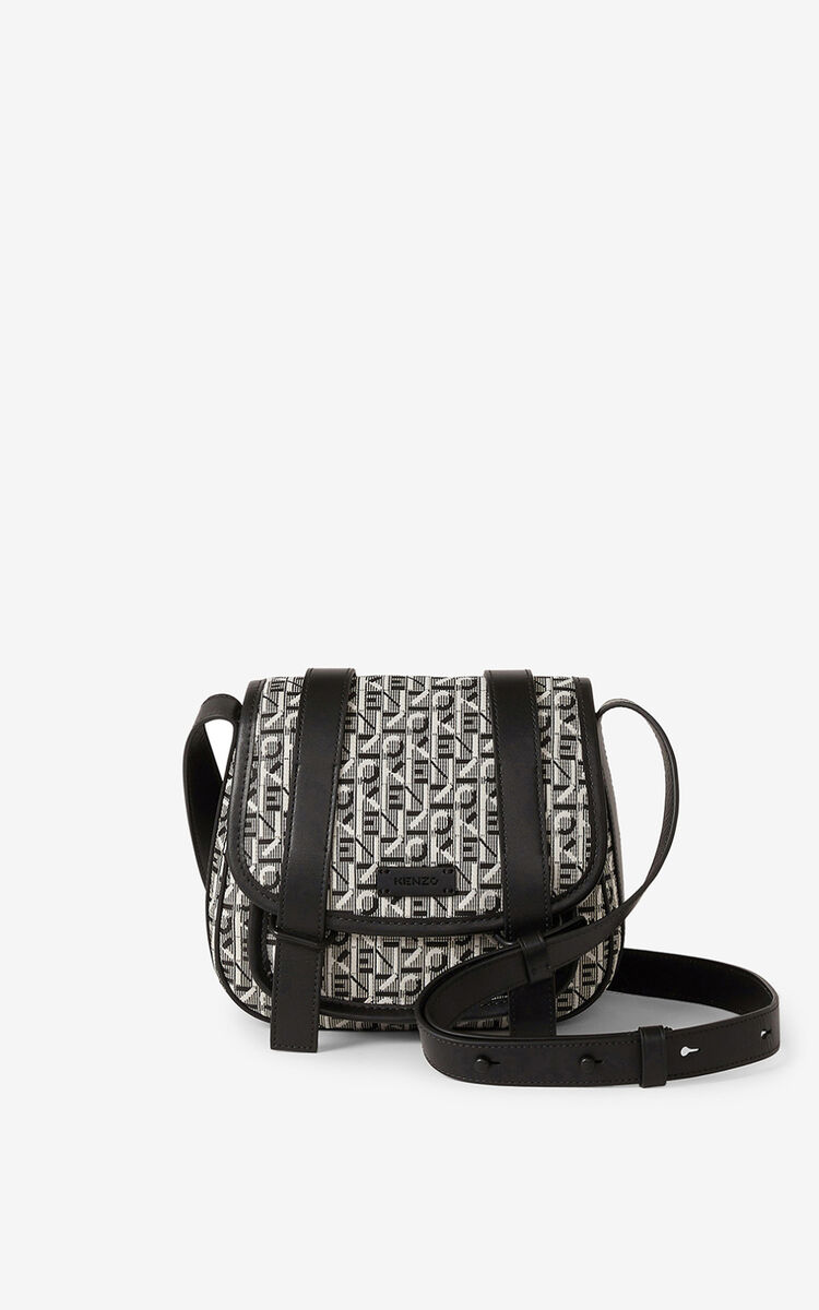 MISTY GREY Courier small jacquard messenger bag for women KENZO