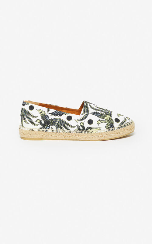 WHITE 'Flying Phoenix' espadrilles for women KENZO