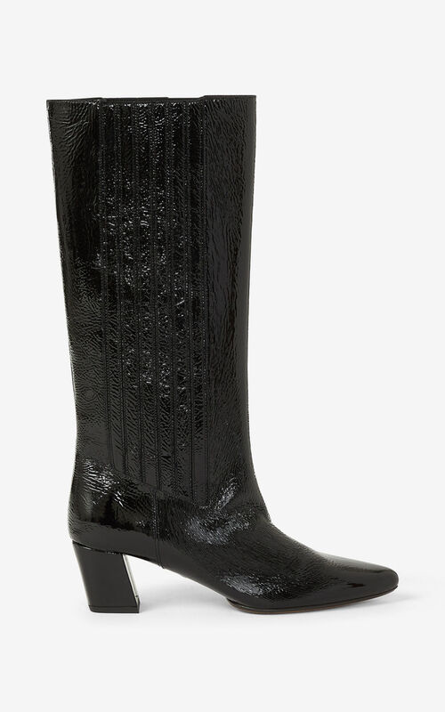 BLACK K-Line Soft heeled leather boots  for women KENZO