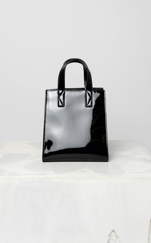 BLACK Mini Tiger patent tote bag for women KENZO